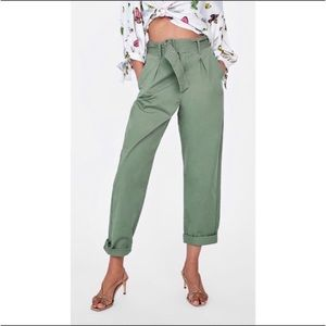 Zara Green Belted Trouser Pants Size Large